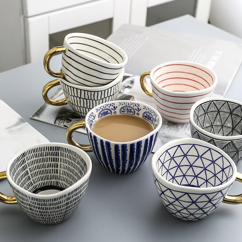 Creative Geometric Ceramic Mugs With Gold Handle Handmade Coffee Cups Irregular Shaped Tea Milk Mug Cup Unique Gifts Home Decor