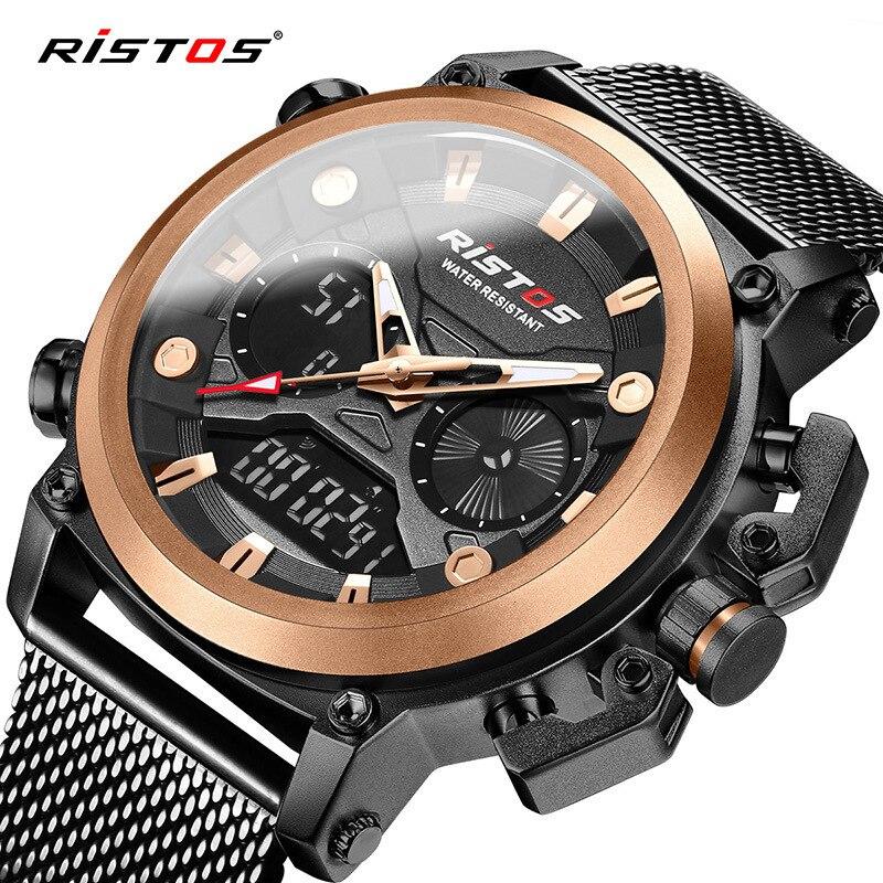 RISTOS/li spindle (9399 marca-deportes nuevos hombres reloj de Moda show multi-funcional impermeable reloj de los hombres