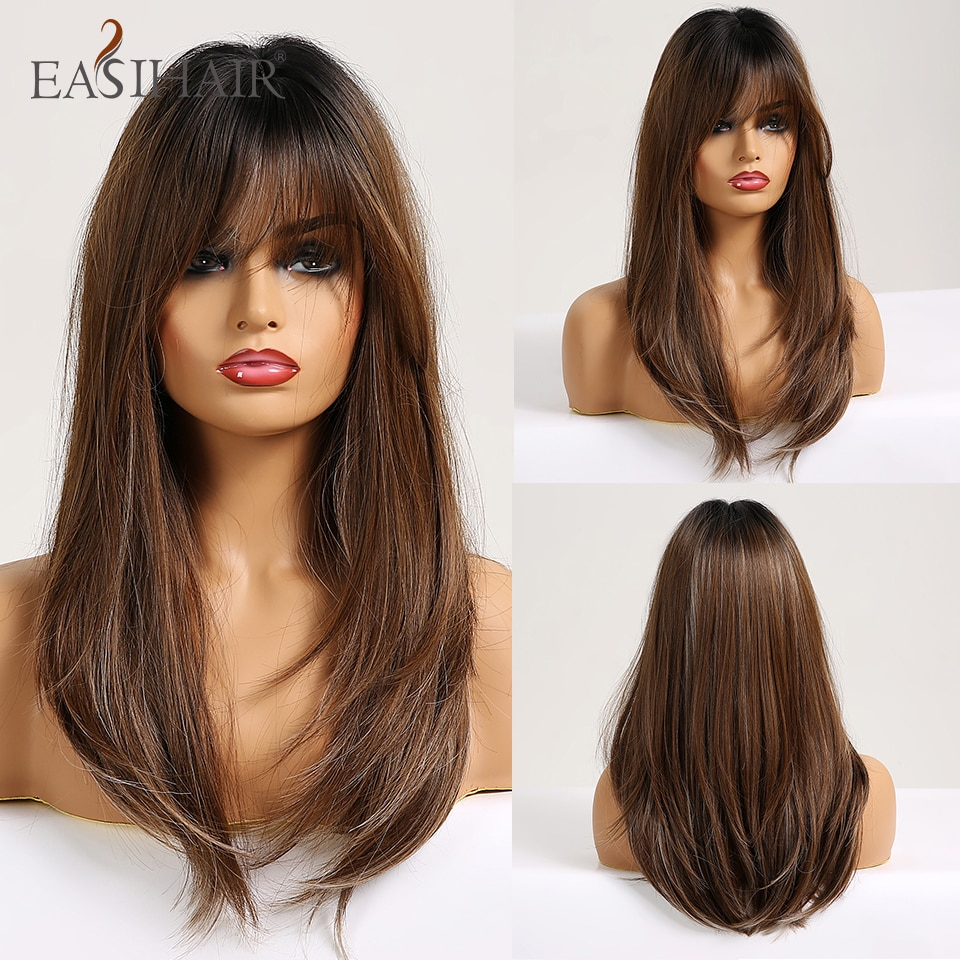 EASIHAIR Long Straight Wigs with Bangs Black to Brown Ombre Synthetic Wigs for Women Daily Natural H