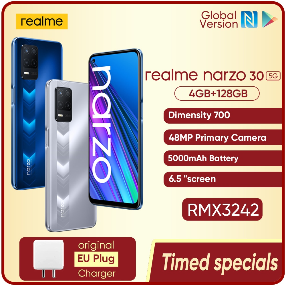 Realme Narzo 30 5G Smart phones Dimensity 700 NFC 90Hz Display 6.5