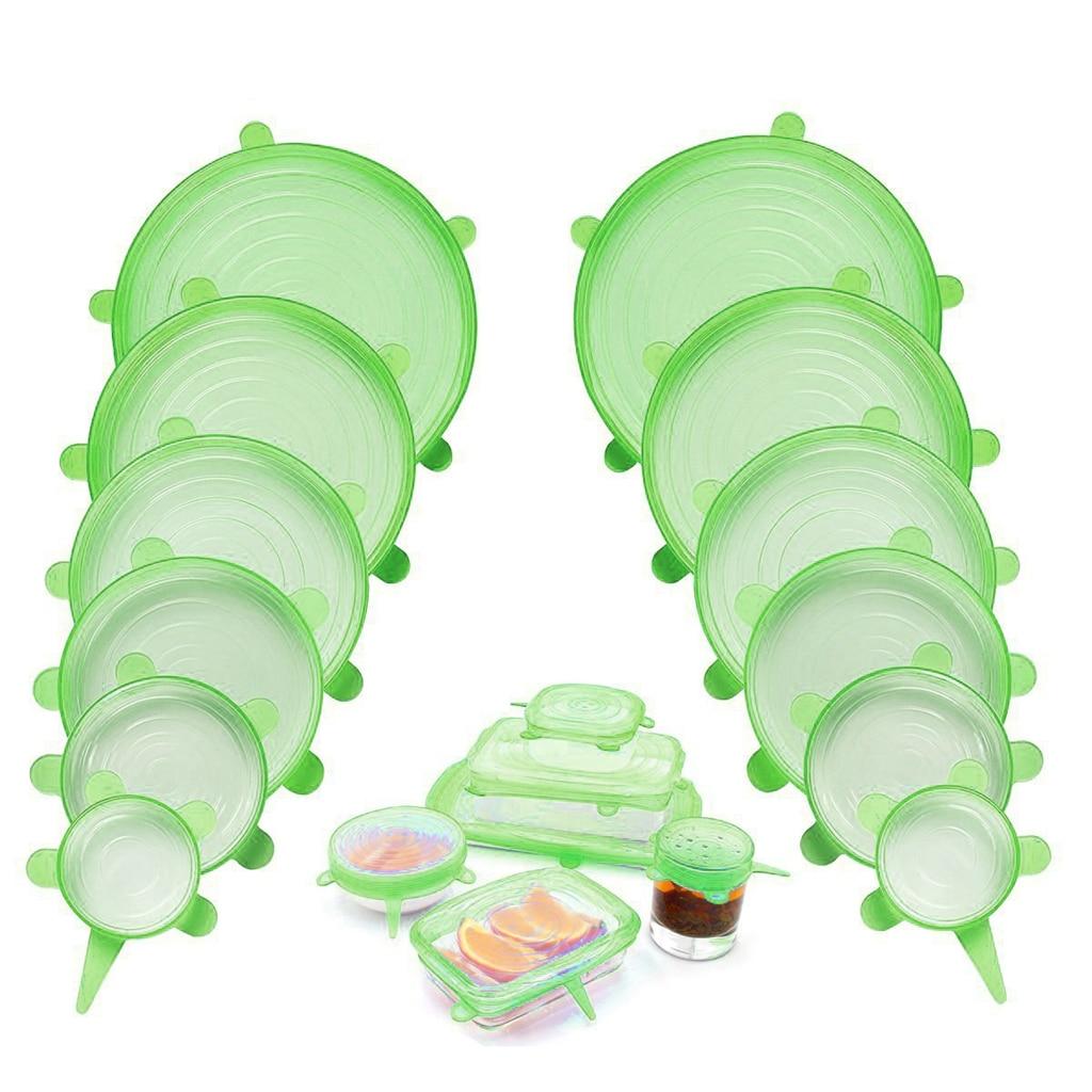 Juego de 6 tapas universales de silicona para comida, Tapas Redondas elásticas, tapas para vasos, tapas para cuencos, tapas elásticas, accesorios de cocina resistentes