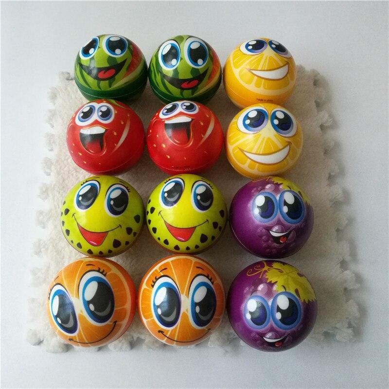 12 Uds 6,3 CM frutas naranja mueca cara sonriente bola apretón Anti Bola de alivio de tensión suave goma esponja de espuma de poliuretano juguetes para niños
