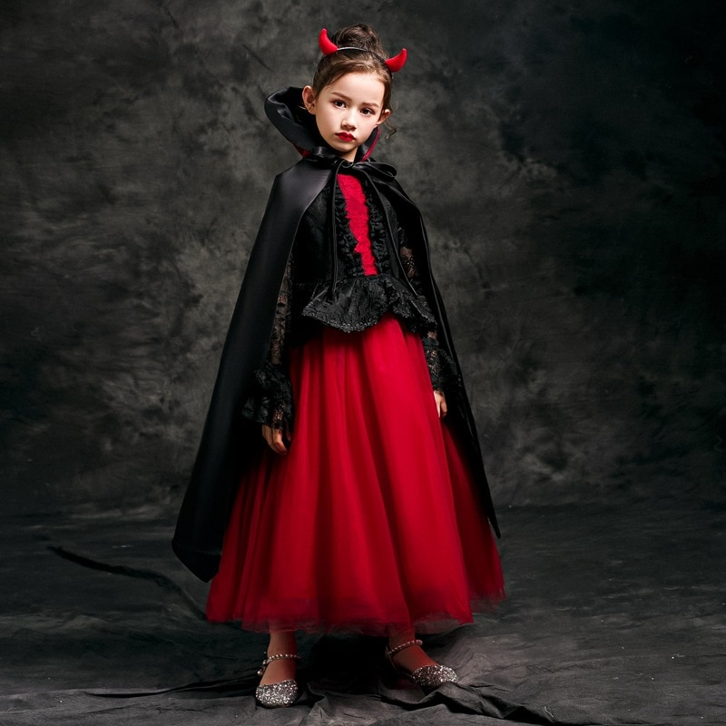 halloween children s costume cosplay girl horror vampire death ghost clothes little witch long sleeve costume girls prom dress Halloween children's costume cosplay girl horror vampire death ghost clothes little witch long sleeve costume Girls` Prom Dress