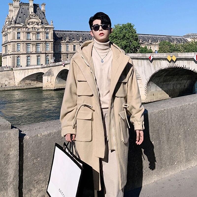 معطف صوفي سميك فضفاض على الموضة للرجال جاكيت طويل ملابس الشارع الشهير للرجال معطف واق من المطر مزود بغطاء للرأس سترة واقية ملابس خارجية
