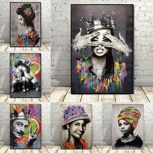 Banksy Graffiti Girl Portrait Canvas Painting Woman Art Creative Street Art Poster and Print Wall Art Home Decor Artwork Picture