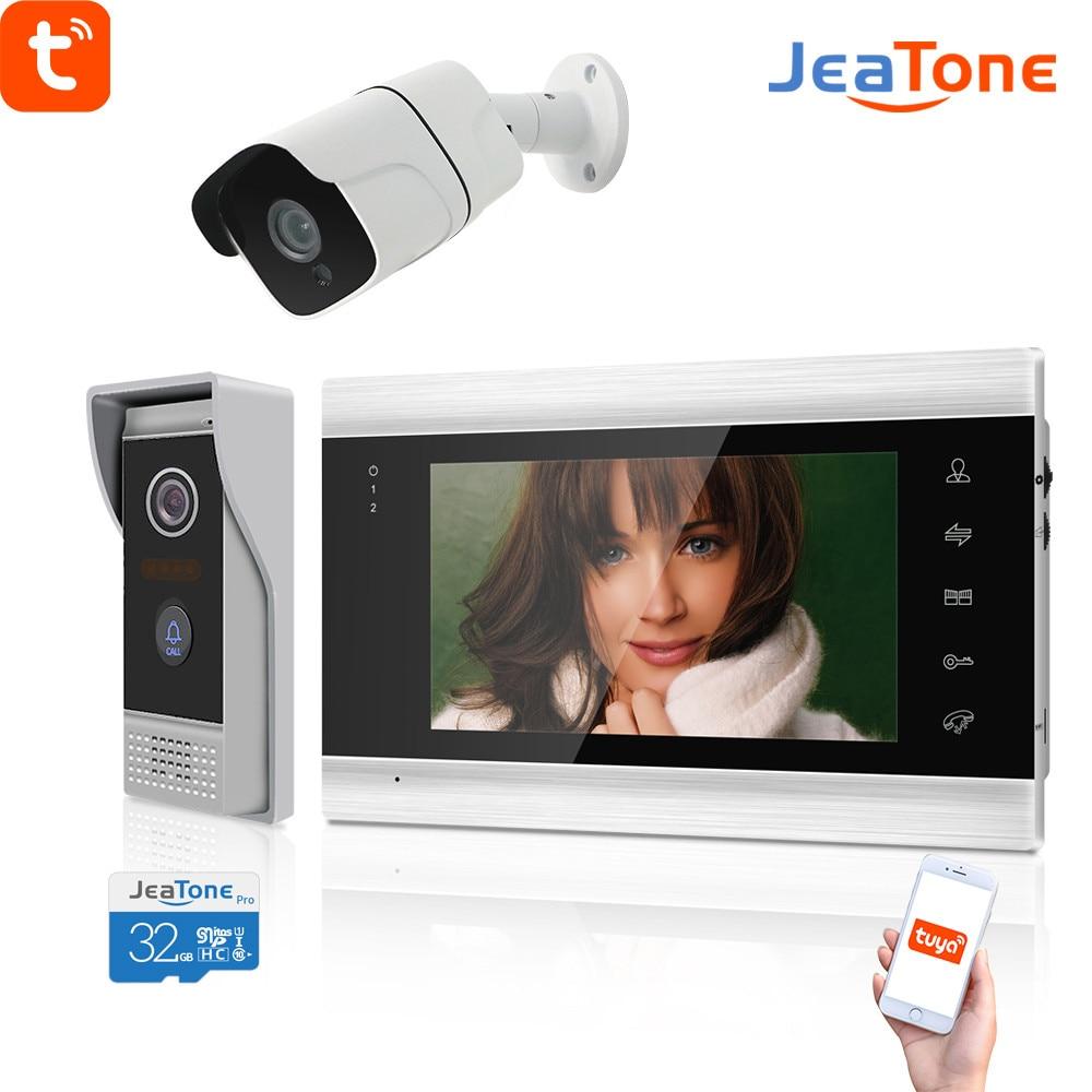 Jeatone واي فاي فيديو إنترفون للمنزل مع كاميرا الأمن 720P شقة السكنية جرس الباب الأمن دخول النظام