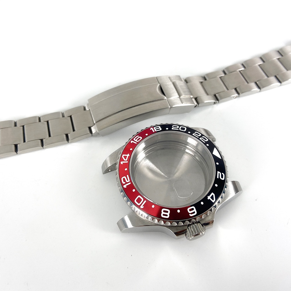 GMT Watch Accessories 40MM Steel With Case Set Sapphire Glass Black And Red Aluminum Ring Suitable For 3804 Movement Watch Part enlarge