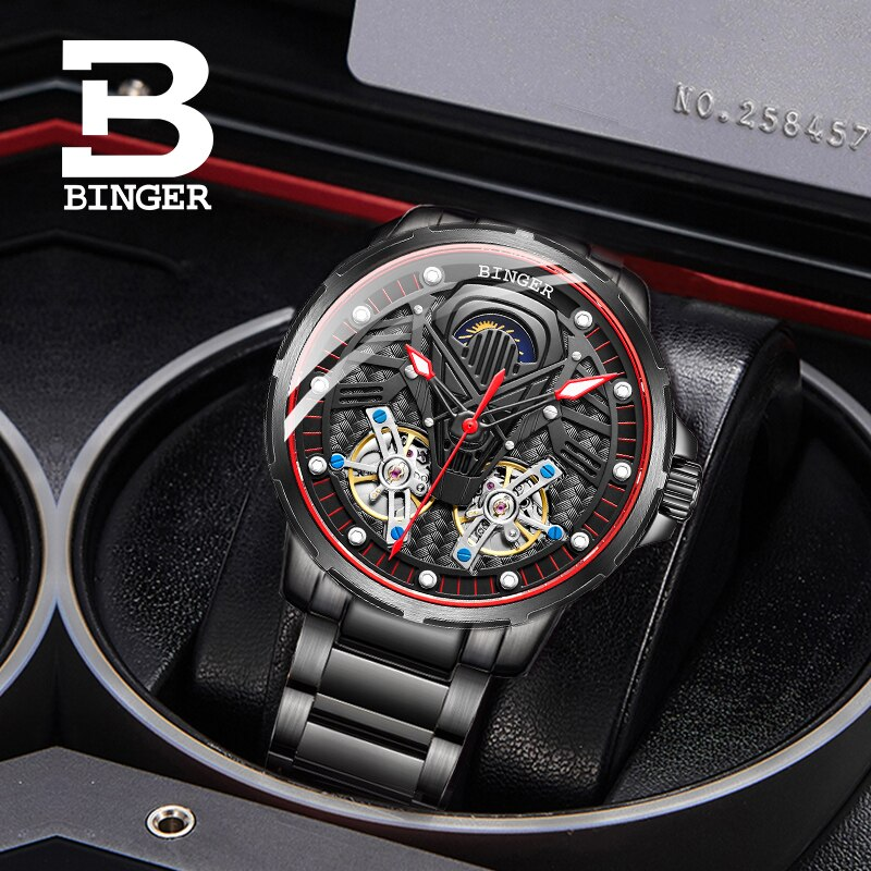 Switzerland BINGER Watch Men Automatic Mechanical Luxury Brand Men Watches Sapphire Men Watch tourbillon relogio masculino B-116 enlarge
