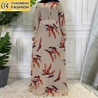 ladies cherry floral printing fashion long sleeve chiffon muslim maxi dress islamic arab saudi abaya dress for women and chirld