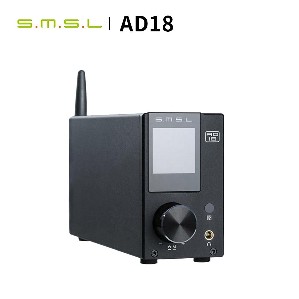 SMSL AD18 Digital Amplifier HI FI Audio Stereo Bluetooth 4.2 Apt X,USB DSP Full Digital Power amplificador 2.1 for Speaker