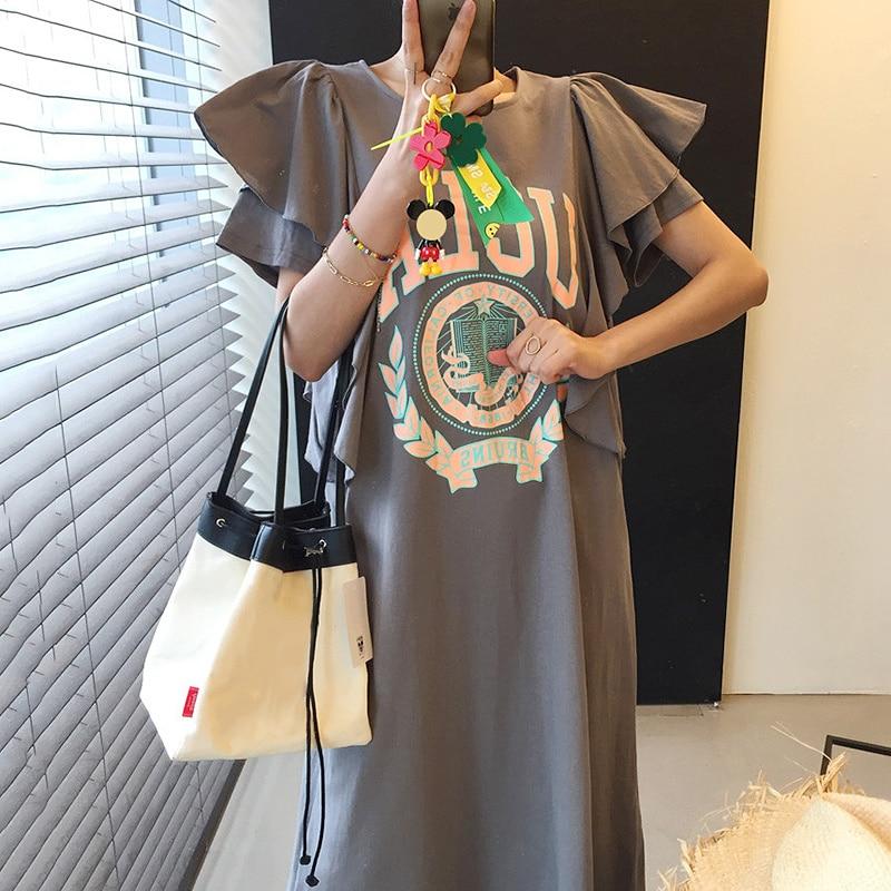 Женское свободное платье с круглым вырезом [EWQ], корейское шикарное летнее платье с вышивкой, круглым вырезом и оборками, модель 2021 года, 16W1712
