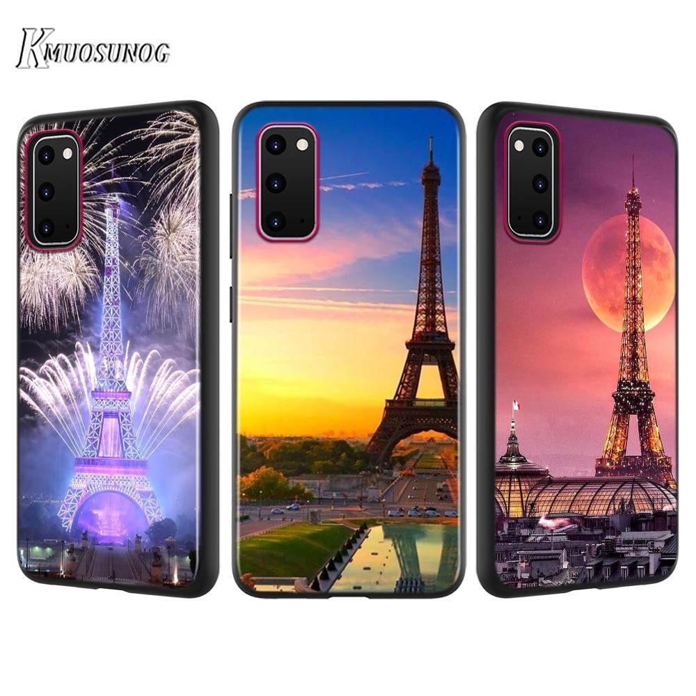 Funda negra London Paris Torre Eiffel para Samsung Galaxy A01 A21 A81 A91 A71 A51 S20 S10 Note 10 Lite Ultra Plus funda para teléfono