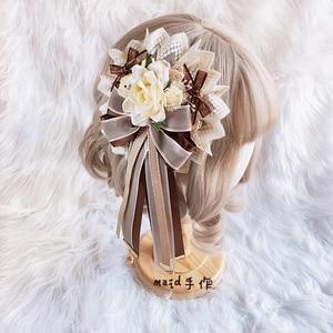 Tiramisu hand-made flower pill original lolita lace flower ornate side clip