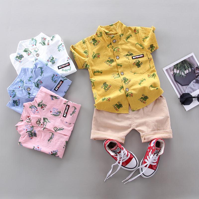 Moda verano niños ropa Casual bebé niños niña estampado animal camisa pantalones cortos 2 unids/set niño ropa infantil chándal