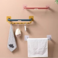 no punching kitchen bathroom wall rack toilet folding double towel bar bath towel rack bathroom accessories kitchen accessories