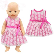 New Pink Lace Flower Dress Wear Fit For 43cm Baby Doll 17 Inch Reborn Baby Doll Clothes Accessories,