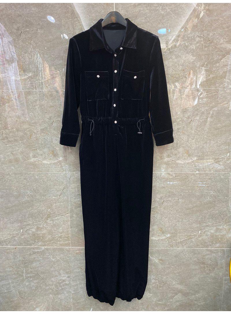 2021 Autumn Fashion Jumpsuits High Quality Velvet Women Turn-down Collar Chest Pocket Deco Drawstring Waist Long Sleeve Jumpsuit