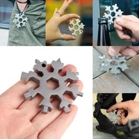 18 in 1 gold portable keychain snowflake tool card multifunction screwdriver wrench beer opener bike hand tools gift for men