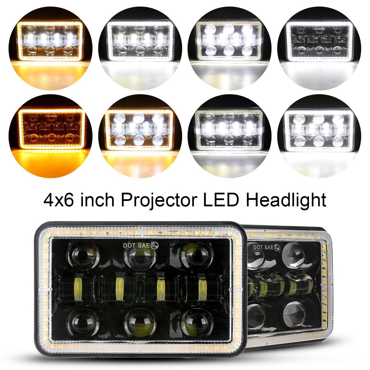 Faros delanteros LED de 4x6 pulgadas para coche, lámpara de señal de giro DRL de haz alto, resistente al agua para camión, remolque, barco, camión, caravana H4651 H4652