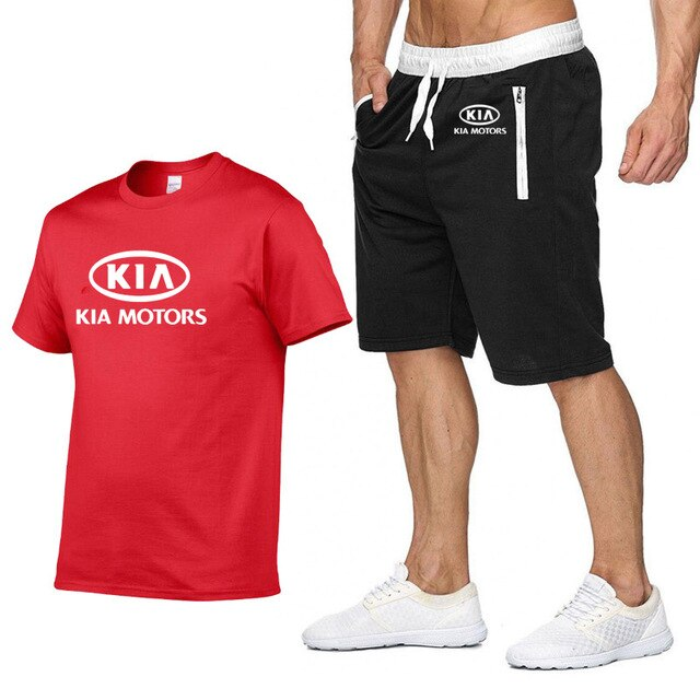 Mens Short sleeve for KIA Car Logo Casual Summer Mens T Shirt Hip Hop TShirt high quality Cotton T Shirts pants suit 2Pcs Q