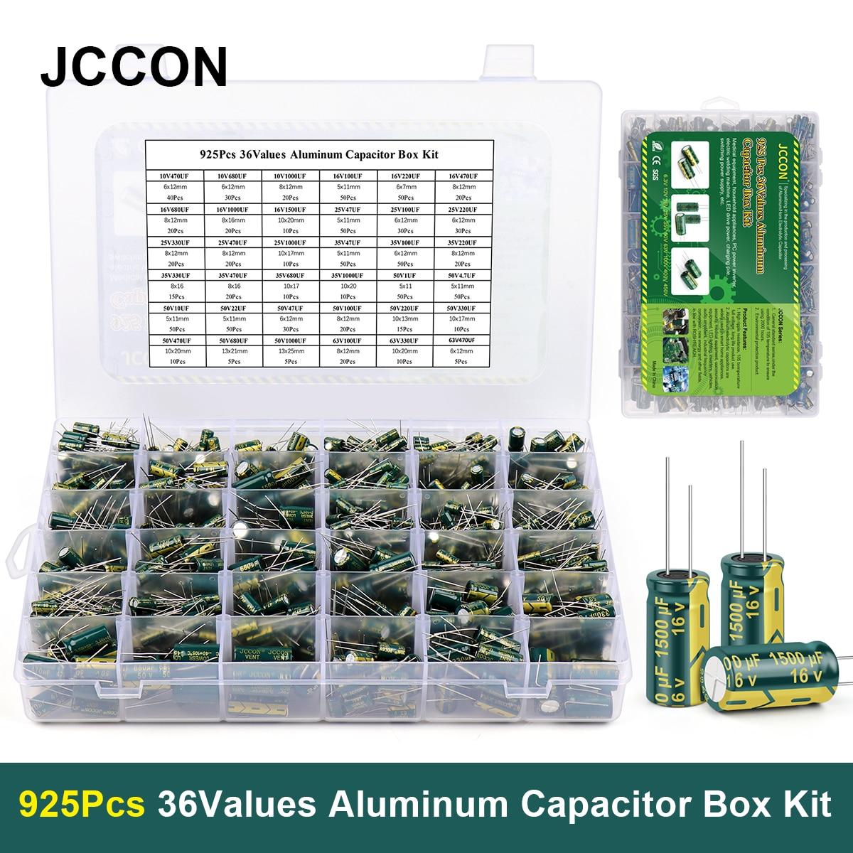 925 قطعة/صندوق 36 قيم JCCON ألومنيوم مُكثَّف كهربائيًا 10 فولت-63 فولت 1 فائق التوهج-1500 فائق التوهج طقم متنوع صندوق تخزين عالي التردد منخفض ESR