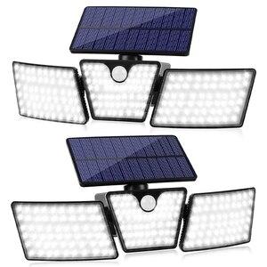 Solar Lights Outdoor 3 Head 360 Degree Adjustable Flood Lights for Wall Porch Garden Patio Yard Garage Pathway 2 Pack