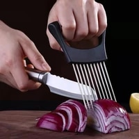 lohas stainless onion cutter onion fork fruit vegetables slicer tomato cutter knife cutting safe aid holder kitchen accessories