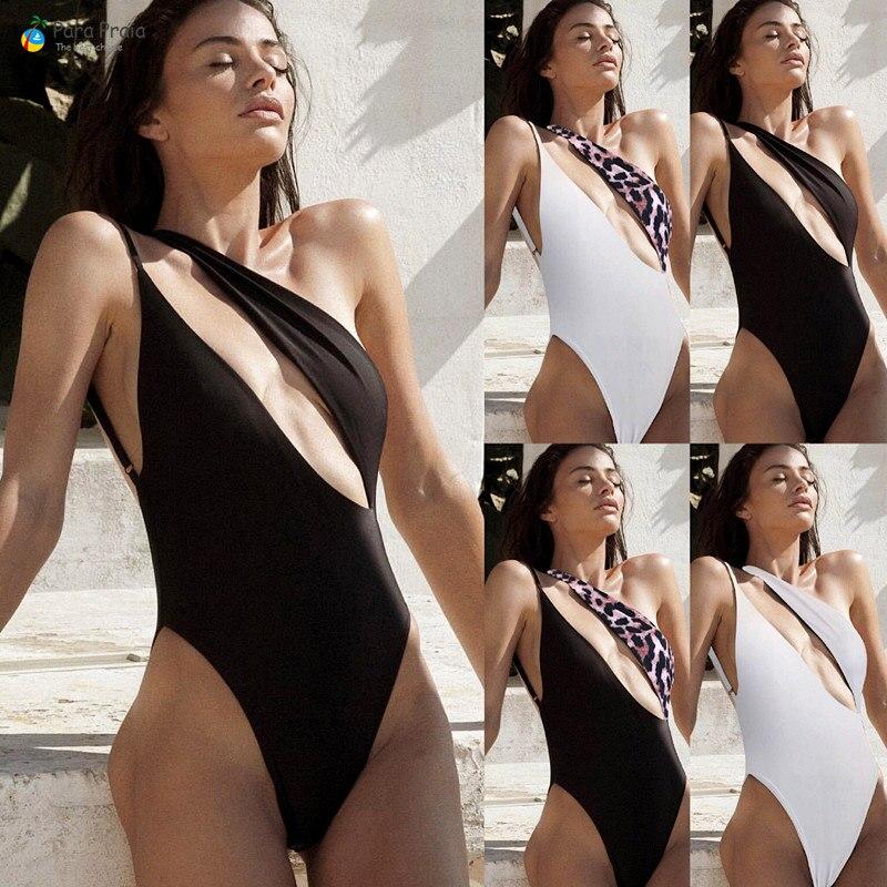 Traje de baño de una sola pieza Sexy Para mujeres traje de baño de corte alto hebilla del traje de baño Monokini de un hombro