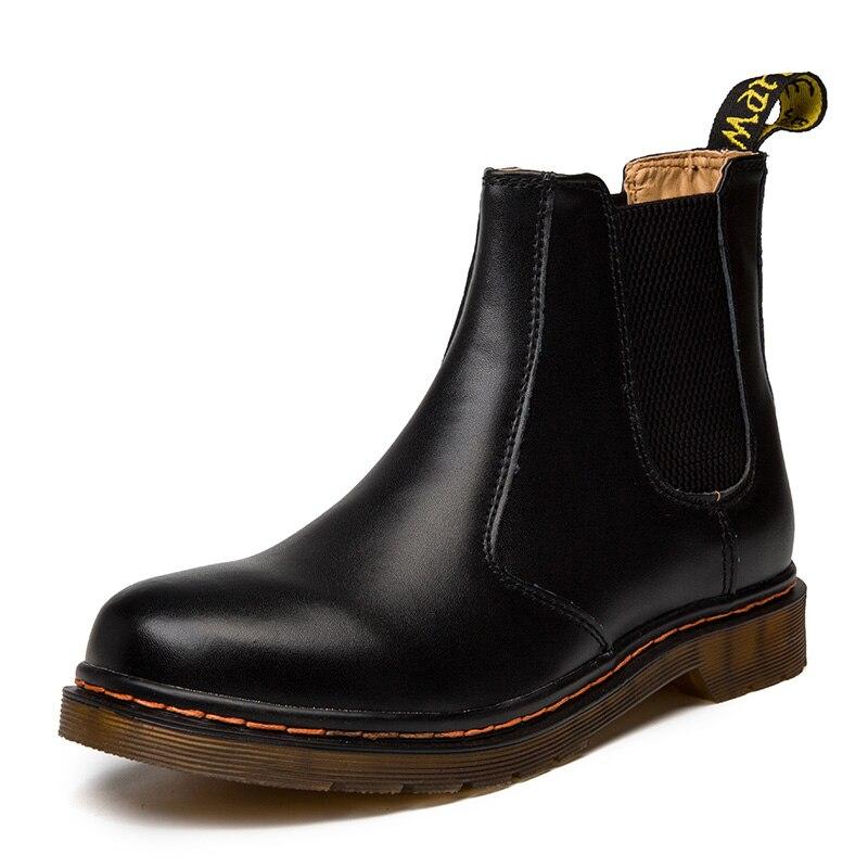 Botas Chelsea de cuero auténtico para otoño e invierno, zapatos para hombre, botines clásicos a prueba de agua, botas casuales para hombre para motocicleta