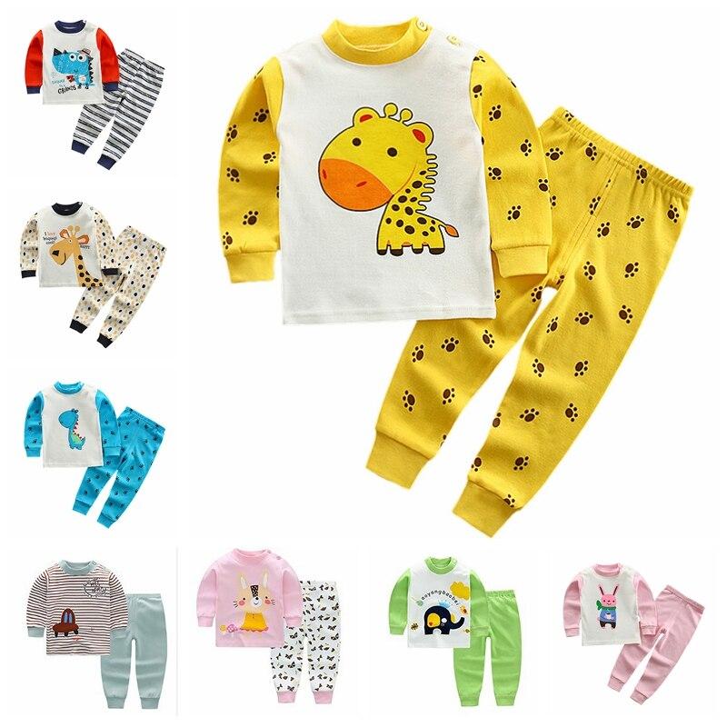 2pcs Clothes B Casual Kids Cotton Pajamas Sets Girls Boys Clothes Sets Cartoon Sleepwear Suit Children Long Sleeve T-shirt+Pant
