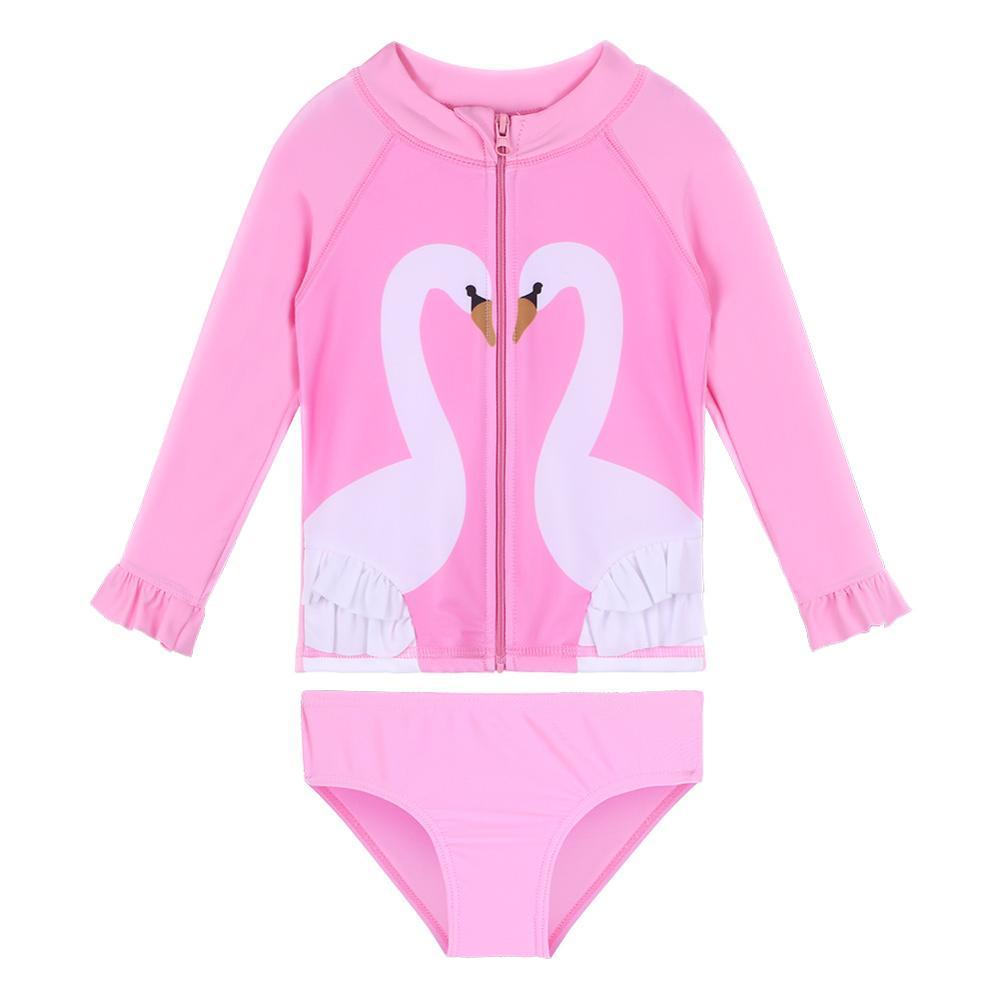 BAOHULU, bañador para niñas pequeñas, dos piezas, manga larga UPF50 + bañador con volantes, cremallera, cisne rosa, Bonito traje de baño para niños