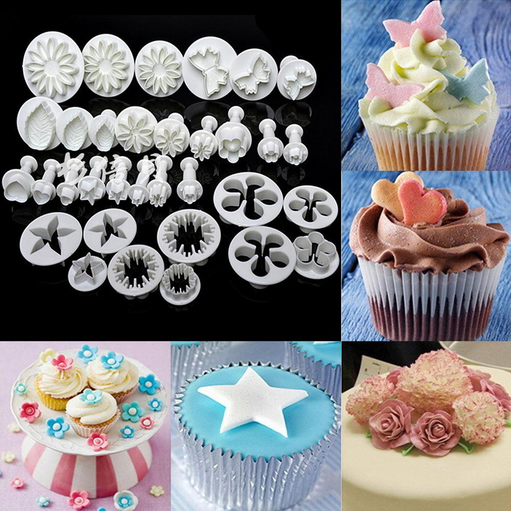 33 Pcs Sugarcraft Cake Decorating Tools Fondant Plunger Cutters Cookie Biscuit Mold Flower Set Baking Accessories