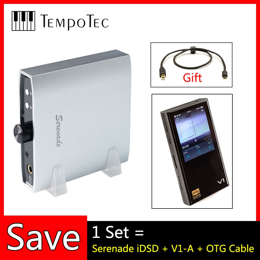 Mp3-плееры, V1-A + Serenade iDSD + OTG кабель, TempoTec HIFI PCM & DSD 256 поддержка Bluetooth LDAC AAC APTX IN & OUT USB DAC