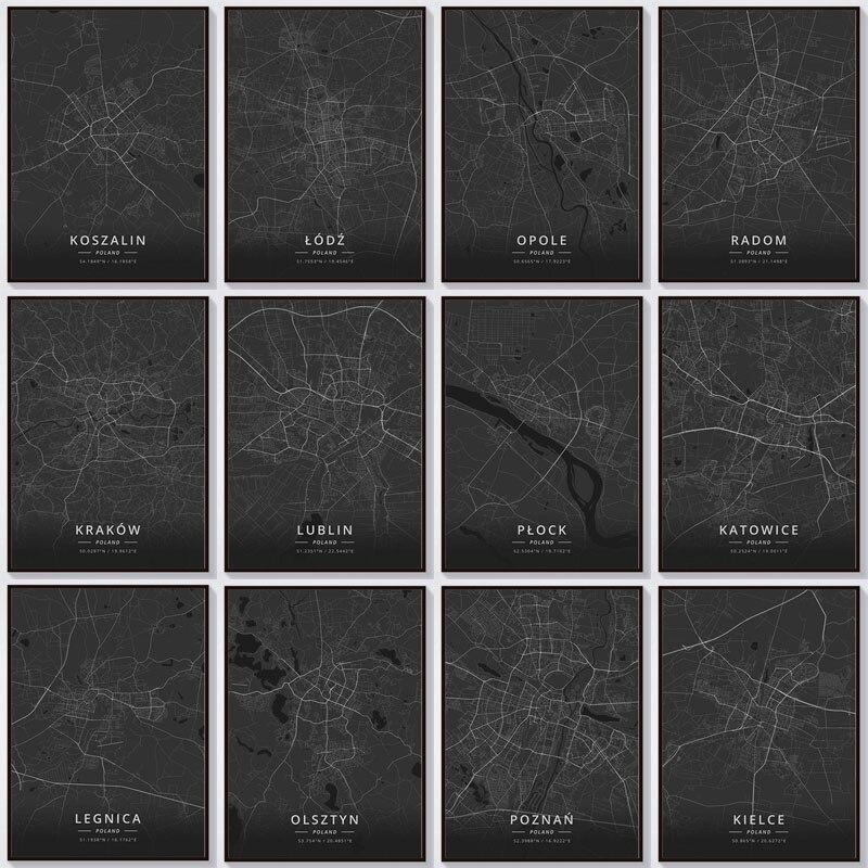 Pintura de diamantes con mapa de Polonia 5D, taladro completo DIY, Ciudad abstracta bordado en diamante paisajístico arte mosaico decoración artesanal