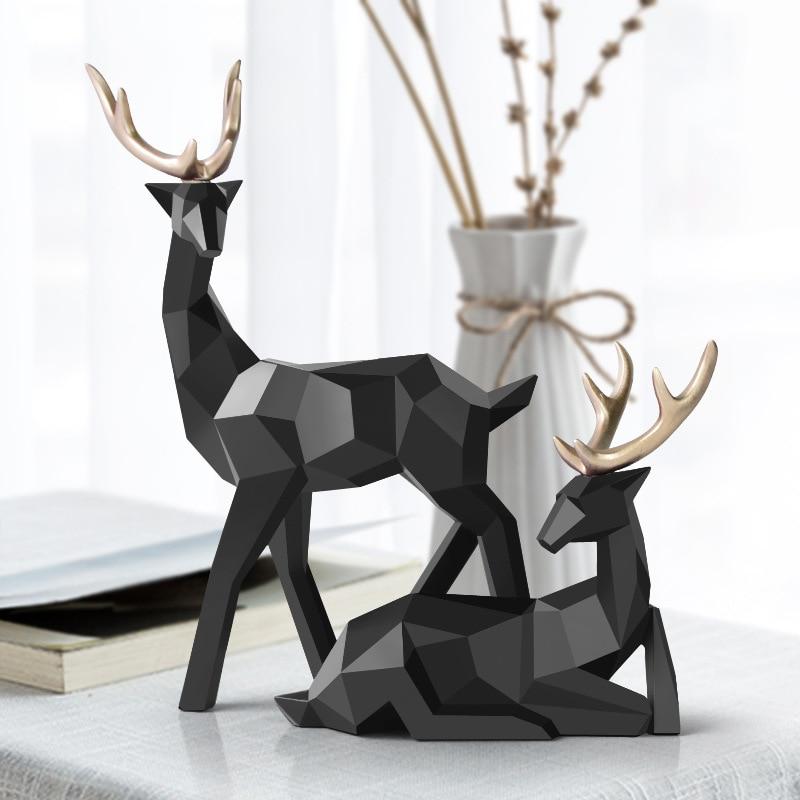 Deer Decoration Statue Resin Sculpture Geometric Home Decor Nordic Statues Deer Figurines Modern Decoration Abstract Tabletop недорого
