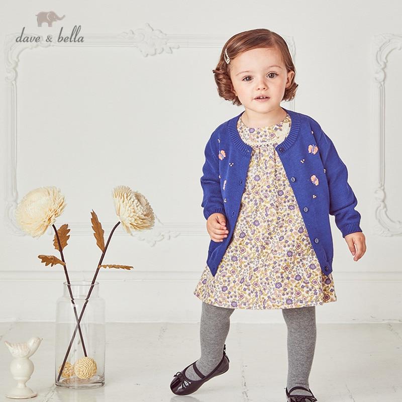 DBM14799 1 dave bella/осенний Модный кардиган с вышивкой для маленьких девочек; Детское пальто для малышей; Милый вязаный свитер для детей|Свитера| | АлиЭкспресс