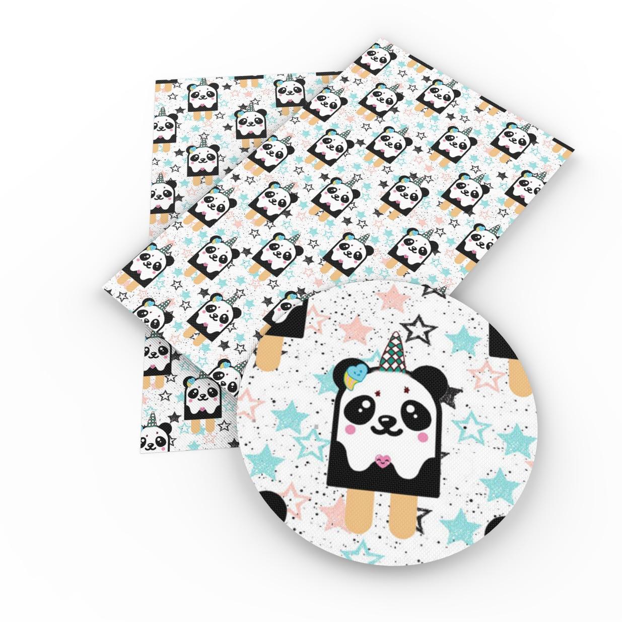 David acessórios 20*34 centímetros Tarja Panda Impresso Faux Tampa Do Telefone Carteira de Couro Sintético Para Sacos de Arco-nó scrapbook DIY, 1Yc4512