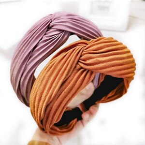 Korean Hair Accessories Solid Cross Headbands for Women Headwear Handmade Pleated Fabric Hairbands Adults Wide Head Band Turban
