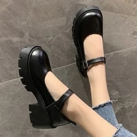 ladies leather lolita shoes mary janes shoes woman black chunky heels 2021 kawaii girls college student cosplay costume shoes