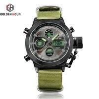 Dual Display Men Watch Nylon Strap Unique Reloj De Hombre Waterproof Quartz Fashion Alarm Clock Date Montre Homme GOLDENHOUR