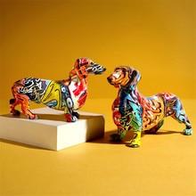 Graffiti Dachshunds Art Sculpture Lucky Dog Figurine Animal Statue Creative Resin Crafts European Home Decoration R5083