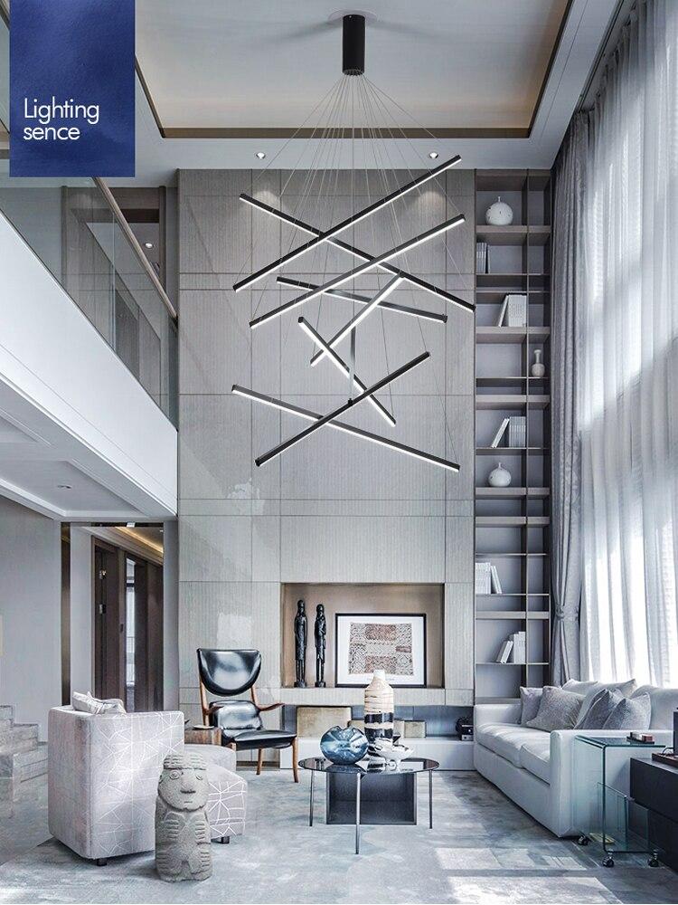 أسود درج الثريا بسيطة الحديثة دوبلكس بناء الشاهقة فارغة غرفة المعيشة قاعة الإبداعية شخصية طويلة LED خط مصباح