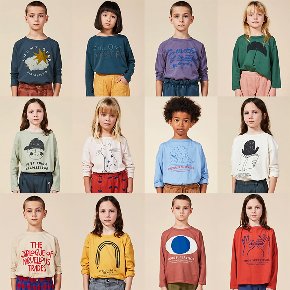 INS Fashion BOBO 2020 New Hit Boys Girls O-neck Long Sleeve T-shirts Childrens Kids Fall Winter Clothes 100% Cotton T-shirts