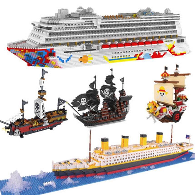 ZRK Luxury Cruise Liner Ship Big White Boat 3D Model DIY Diamond Mini Building Micro Blocks Bricks One Piece Assembly Toy
