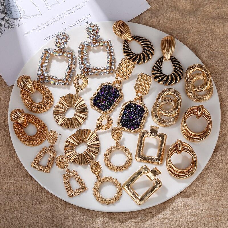 Vintage géométrique boucles doreilles couleur dorée femmes boucles doreilles 2020 grande nouvelle mode bohême goutte boucle doreille bijoux modernes