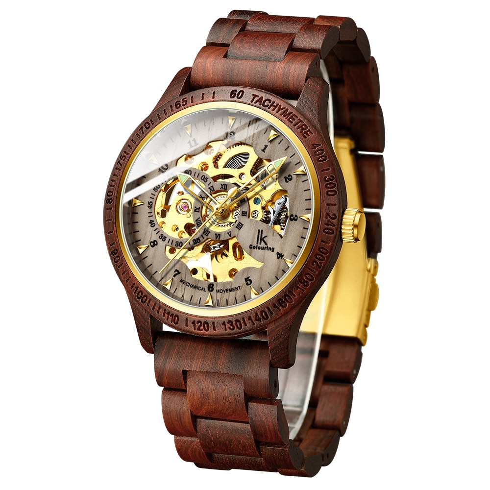 Men Wood Watches Fashion Gold Skeleton Watches Men Wooden Strap Automatic Mechanical Wristwatches IK