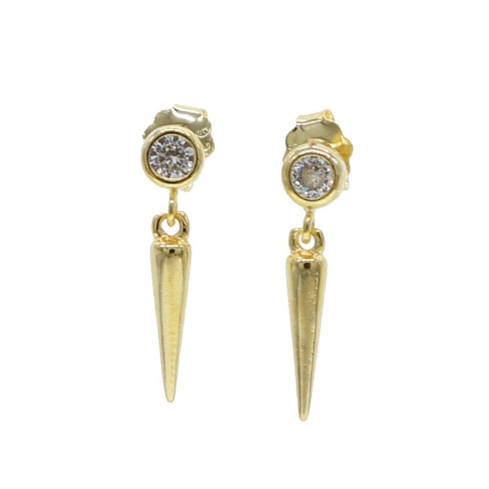 100% Plata de Ley 925 fino, geométrico, redondo, cz, amuleto con forma de pincho, pendiente de tuerca, simple, minimalista, joyería de vermeil