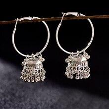 2019 Vintage Ethnische frauen Runde Silber Farbe Jhumki Ohrringe Indische Tibetischen Schmuck Tribe Böhmen Boho Glocke Quaste Ohrringe