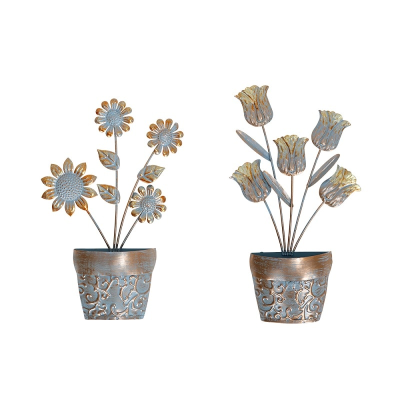 2pcs Metal Flowerpot Hanging Wall Decoration for Home and Garden Outdoor Miniature Statues and Sculptures