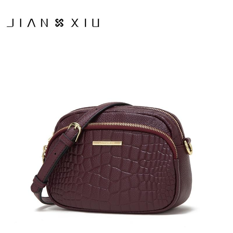 JIANXIU Brand Genuine Leather Luxury Handbags Women Messenger Bags Designer 2019 Small Shoulder Crossbody Bag Crocodile Texture